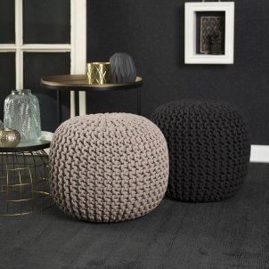 Pufa dziergana - Cool Pouf Obsession - taupe - beżowo-szara